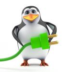 3d Penguin green energy power